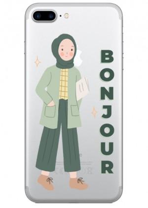 Bonjour Yazılı Karakter Telefon Kılıfı
