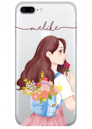 Çiçekli Genç Kız Karakterli Telefon Kılıfı
