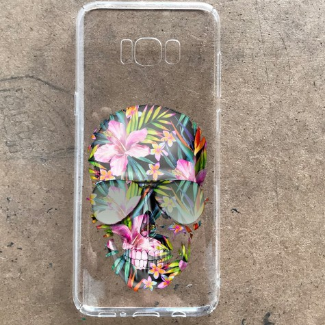 Çiçekli Kurukafa Telefon Kılıfı