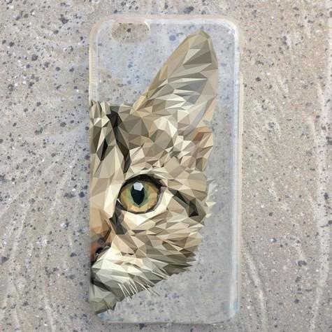 Kedili Geometrik Desen Telefon Kılıfı