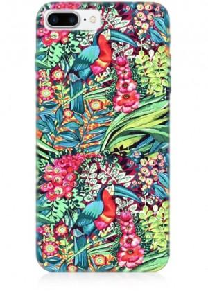 Pelikan ve Renkli Çiçek Desenli Telefon Kılıfı