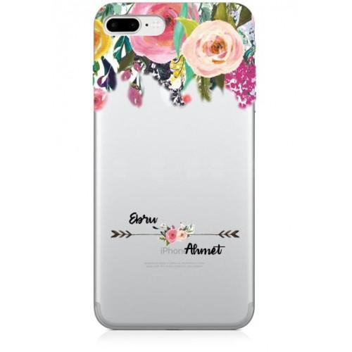 i̇sim yazılı çiçek desenli telefon kılıfı