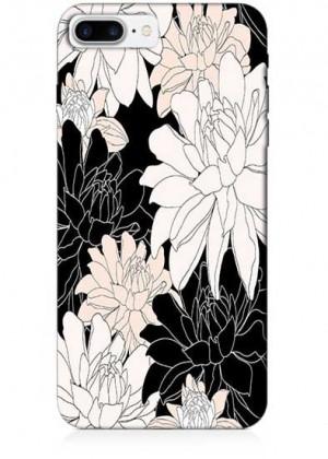 Siyah Beyaz Çiçekli Telefon Kılıfı