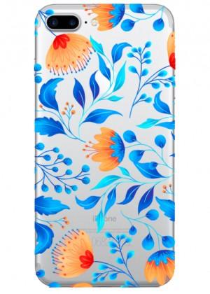 Mavi Çiçek Desenli Telefon Kılıfı