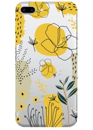 Sarı Çiçek Desenli Telefon Kılıfı