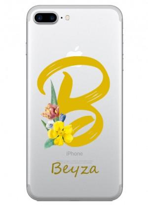 B Harfi Çiçek Desenli Telefon Kılıfı