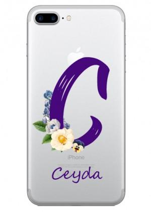 C Harfi Çiçek Desenli Telefon Kılıfı