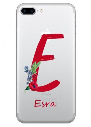 E Harfi Çiçek Desenli Telefon Kılıfı