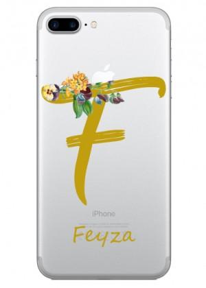 F Harfi Çiçek Desenli Telefon Kılıfı