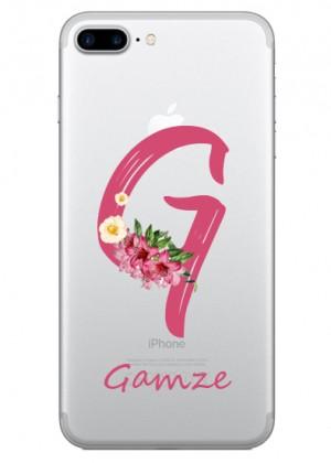 G Harfi Çiçek Desenli Telefon Kılıfı