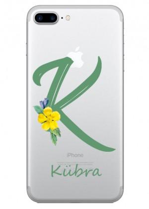 K Harfi Çiçek Desenli Telefon Kılıfı