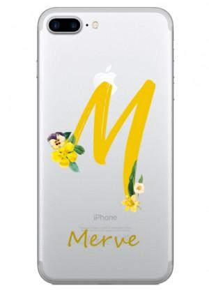 M Harfi Çiçek Desenli Telefon Kılıfı