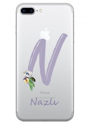 N Harfi Çiçek Desenli Telefon Kılıfı